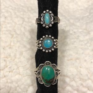 Vintage Sterling Silver set of 3 turquoise rings